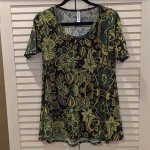 LuLaRoe XS Perfect T Yellow Green Brown Floral